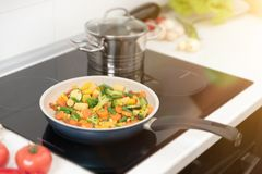 Fresh vegetables fried in a pan. Healthy nutrition concept. Healthy nutrition concept stock photo