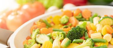 Fresh vegetables fried in a pan. Healthy nutrition concept. Healthy nutrition concept royalty free stock photos