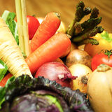 Fresh vegetables and fruit. An assortment of fresh fruit and vegetables royalty free stock photo