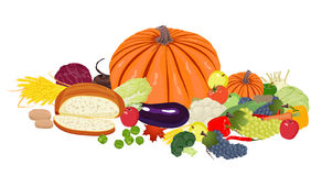 Fresh vegetables, fruit, bread and wheat Royalty Free Stock Image
