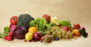 Fresh vegetables and fruits. Colorful fresh group of fruits and vegetables for a balanced diet. Look at my gallery for more fresh fruits and vegetables Stock Image