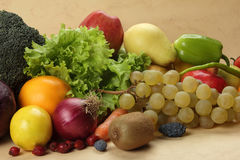 Fresh vegetables and fruits. Colorful fresh group of fruits and vegetables for a balanced diet. Look at my gallery for more fresh fruits and vegetables Stock Photo