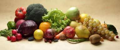 Fresh vegetables and fruits. Colorful fresh group of fruits and vegetables for a balanced diet. Look at my gallery for more fresh fruits and vegetables Stock Photography