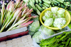 Fresh vegetables and fruits at asian market Stock Images