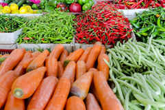 Fresh vegetables and fruits at asian market Stock Photo