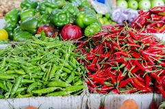 Fresh vegetables and fruits at asian market Stock Image