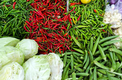 Fresh vegetables and fruits at asian market Royalty Free Stock Photo
