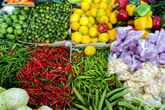 Fresh vegetables and fruits at asian market Royalty Free Stock Photos