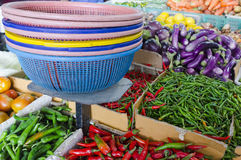 Fresh vegetables and fruits at asian market Royalty Free Stock Images