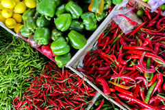 Fresh vegetables and fruits at asian market Stock Photography