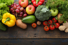 Fresh vegetables and fruits background Stock Image