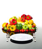 Fresh vegetables and fruits with empty plate Stock Photography