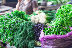 Fresh vegetables and fruits on farmer agricultural market Stock Photo