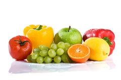 Fresh vegetables and fruits isolated royalty free stock photos