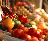 Fresh vegetables and fruits at the market royalty free stock images