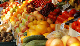 Fresh vegetables and fruits at the market. Various fresh vegetables and fruits at the market Stock Photo
