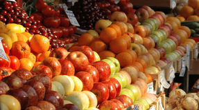 Fresh vegetables and fruits at the market. Various fresh vegetables and fruits at the market Stock Photography