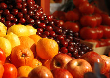 Fresh vegetables and fruits at the market. Various fresh vegetables and fruits at the market Royalty Free Stock Photo