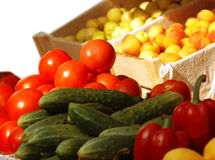 Fresh vegetables and fruits at the market. Various fresh vegetables and fruits at the market Stock Image