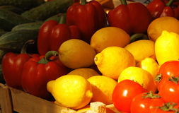 Fresh vegetables and fruits at the market. Various fresh vegetables and fruits at the market Royalty Free Stock Images