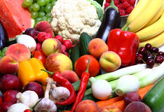 Fresh Vegetables, Fruits and other foodstuffs. On white royalty free stock photos