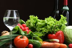 Fresh Vegetables fruits and other foodstuffs. Royalty Free Stock Photos