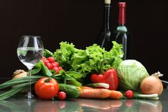 Fresh Vegetables fruits and other foodstuffs. Stock Images