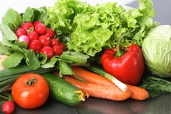 Fresh Vegetables fruits and other foodstuffs. Royalty Free Stock Image