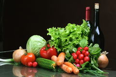 Fresh Vegetables fruits and other foodstuffs. Royalty Free Stock Photography