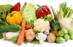 Fresh vegetables and fruits. Over white background stock photo
