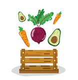 Fresh vegetables and fruits pixelated. Fresh vegetables and fruits inside wooden box pixelated cartoon vector illustration graphic design Royalty Free Illustration