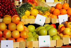 Fresh vegetables and fruits with price tag. Various fresh vegetables and fruits at the market with price tag Royalty Free Stock Photography