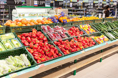 Fresh vegetables and fruits ready for sale in supermarket Lenta. Royalty Free Stock Photo