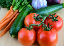 Fresh vegetables and fruits for salad Stock Photo
