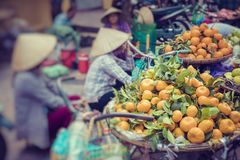 Fresh vegetables and fruits in traditional street market in Hanoi, Vietnam. Fresh vegetables and fruits in traditional street market in Hanoi, Vietnam royalty free stock photo