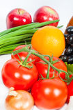 Fresh vegetables and fruits on white Royalty Free Stock Photo