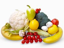 Fresh vegetables and fruits on white background royalty free stock photos