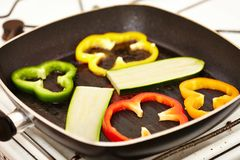 Fresh vegetables in the frying pan Royalty Free Stock Photography
