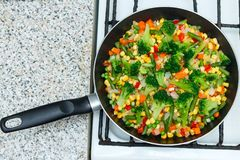 Fresh vegetables in a frying pan. Fresh vegetable products, fres stock photography