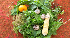 Fresh vegetables - garlic, corn, cabbage, tomatoes and various g Royalty Free Stock Images