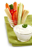 Fresh vegetables and garlic dip Stock Images
