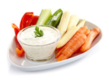 Fresh vegetables and garlic dip Royalty Free Stock Photo