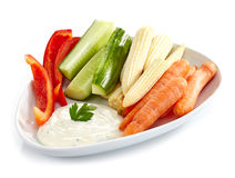 Fresh vegetables and garlic dip Royalty Free Stock Photography