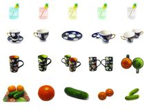 Fresh vegetables, glasses and cups icons Stock Images