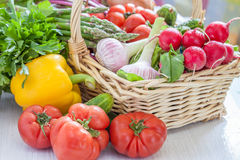 Fresh vegetables in green colander Royalty Free Stock Photos