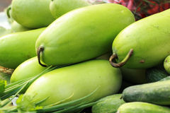 Fresh vegetables - green hatch in the market. Royalty Free Stock Photo