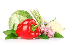 Fresh vegetables with green leaves Royalty Free Stock Images