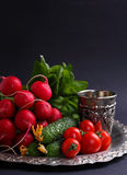 Fresh vegetables and greens (cucumber, radish, tomato, lettuce, spinach) on the metal tray. On a black background Royalty Free Stock Photo