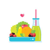 Fresh vegetables greens fruits bowl and bottle of smoothie juice. Vector illustration vector illustration