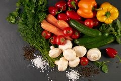 Fresh vegetables and greens stock images